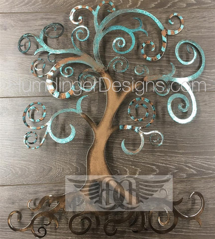 Swirly Tree - Swirly Tree (Copper And Teal Stripes)