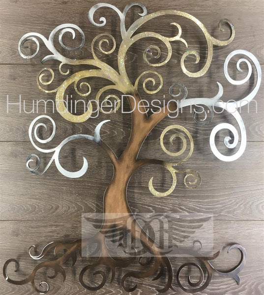 Swirly Tree (Gold and Silver Sparkle)