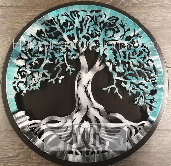 Tree of Life (Antique Teal Silver Sparkle) with Simple Dark Background