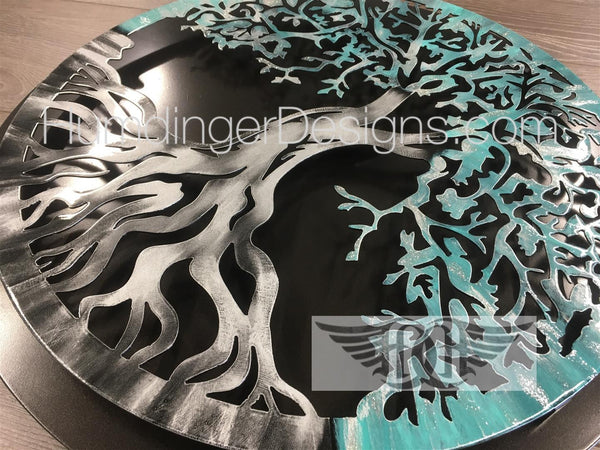 Tree Of Life - Tree Of Life (Antique Teal Silver Sparkle) With Simple Dark Background