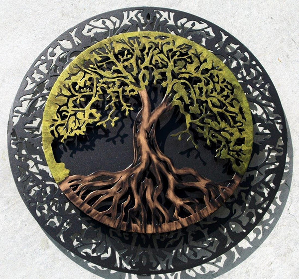 Tree - Tree Of Life Traditional Two-Piece 3D With Dark Metalic Grey Background
