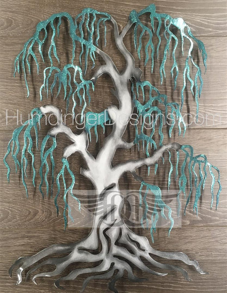 Willow Tree (Silver Trunk Teal Sparkle)