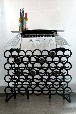 Wine Rack - Ultimate Wine Lovers Wine Rack With Glass Storage And Serving Table (60 Bottle Capacity)