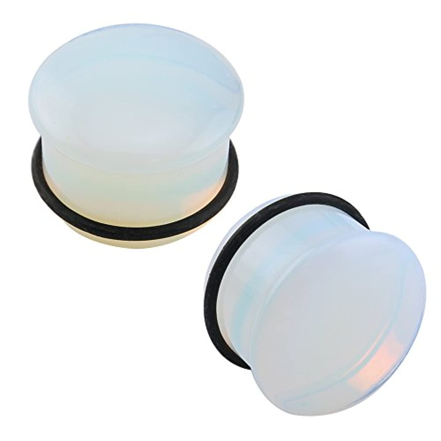 Classier: Buy ZS ZS Single Flare Clear Opalite Moonstone Ear Plugs and Tunnels with O-Ring Stretcher Expander Pair