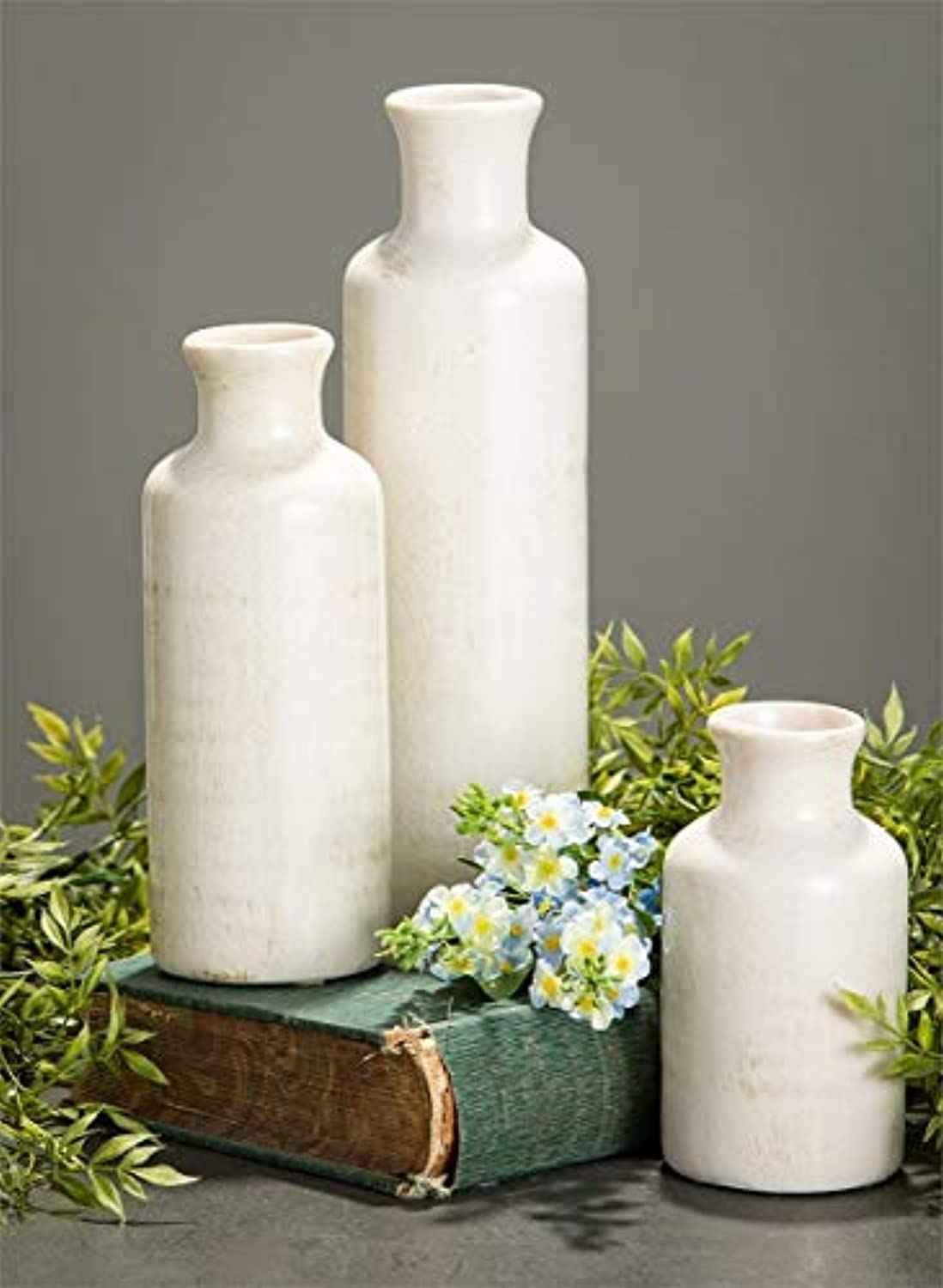 Classier: Buy Sullivans Sullivans Small White Vase Set (Ceramic), Rustic Home Decor, Distressed White, Set of 3 Vases (CM2333).