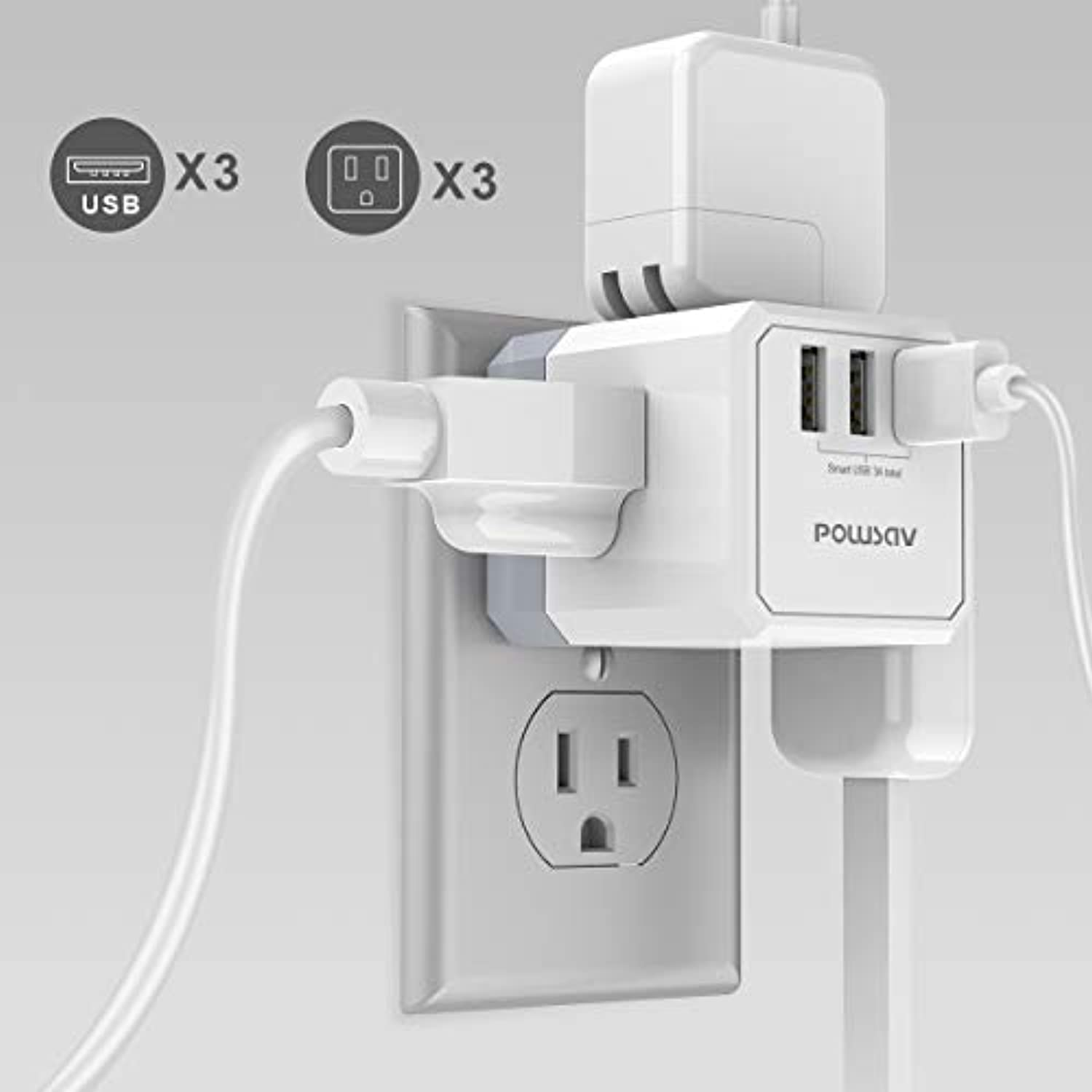 Classier: Buy POWSAV Multi Plug Outlet, Outlet expanders, POWSAV USB Wall Charger with 3 USB Ports(Smart 3.0A Total) and 3-Outlet Extender with 3 Way Splitter, No Surge Protector for Cruise Ship, Home, Office, ETL Listed