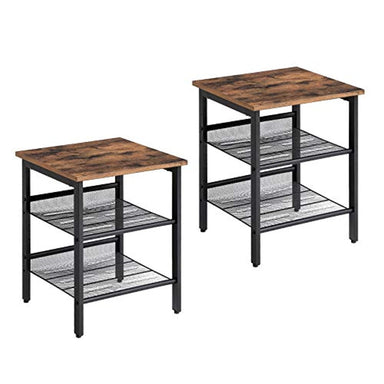 Classier: Buy VASAGLE VASAGLE Industrial Nightstand, Set of 2 Side Tables, End Tables with Adjustable Mesh Shelves, for Living Room, Bedroom, Stable Metal Frame and Easy Assembly ULET24X