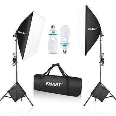 "Classier: Buy EMART Emart 1050 Watt Softbox Photography Lighting Kit with Sandbags 20"" x 28""/ 50 x 70 cm Continuous Lighting Equipment 2pcs 105W 5500K Photo Video Lighting Bulb for Product Shooting, Portraits and Filming"