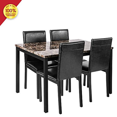 Classier: Buy DKLGG DKLGG Faux Marble Dining Set for Small Spaces Kitchen 4 Table with Chairs Home Furniture, Black