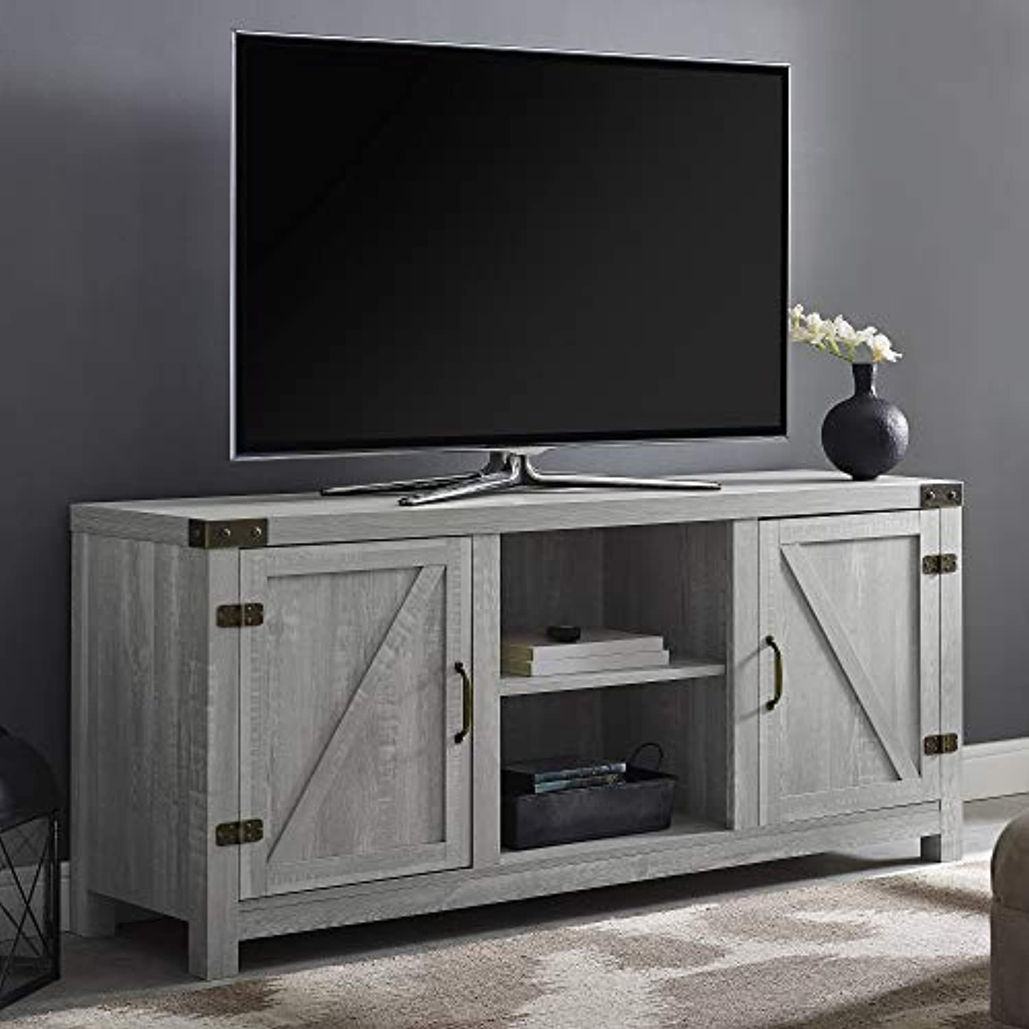 "Classier: Buy Walker Edison Furniture Company Walker Edison Furniture Company Farmhouse Barn Wood Universal Stand for TV's up to 64"" Flat Screen Living Room Storage Cabinet Doors and Shelves Entertainment Center, 58 Inch, Stone Grey"