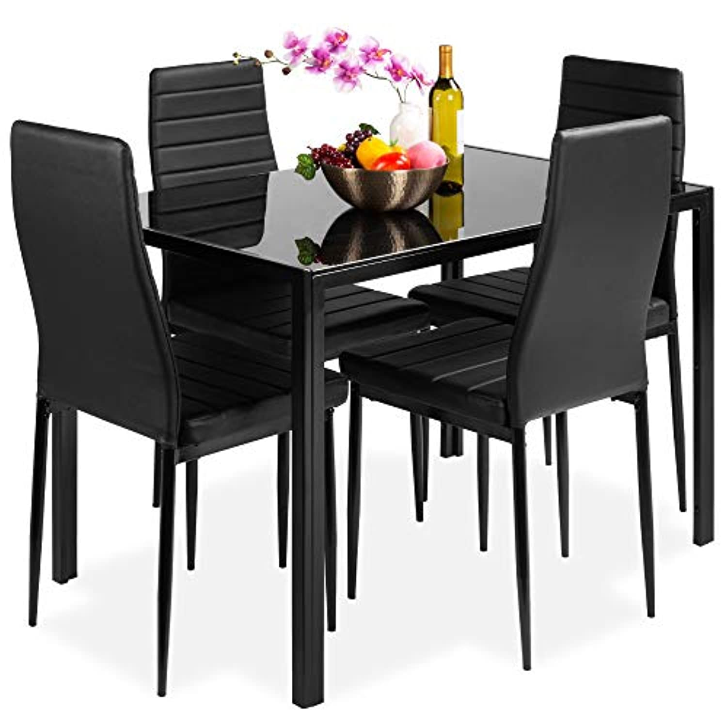 Classier: Buy Best Choice Products Best Choice Products 5-Piece Kitchen Dining Table Set w/Glass Tabletop, 4 Faux Leather Chairs - Black