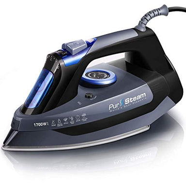 Classier: Buy PurSteam World's Best Steamers Professional Grade 1700W Steam Iron for Clothes with Rapid Even Heat Scratch Resistant Stainless Steel Sole Plate, True Position Axial Aligned Steam Holes, Self-Cleaning Function