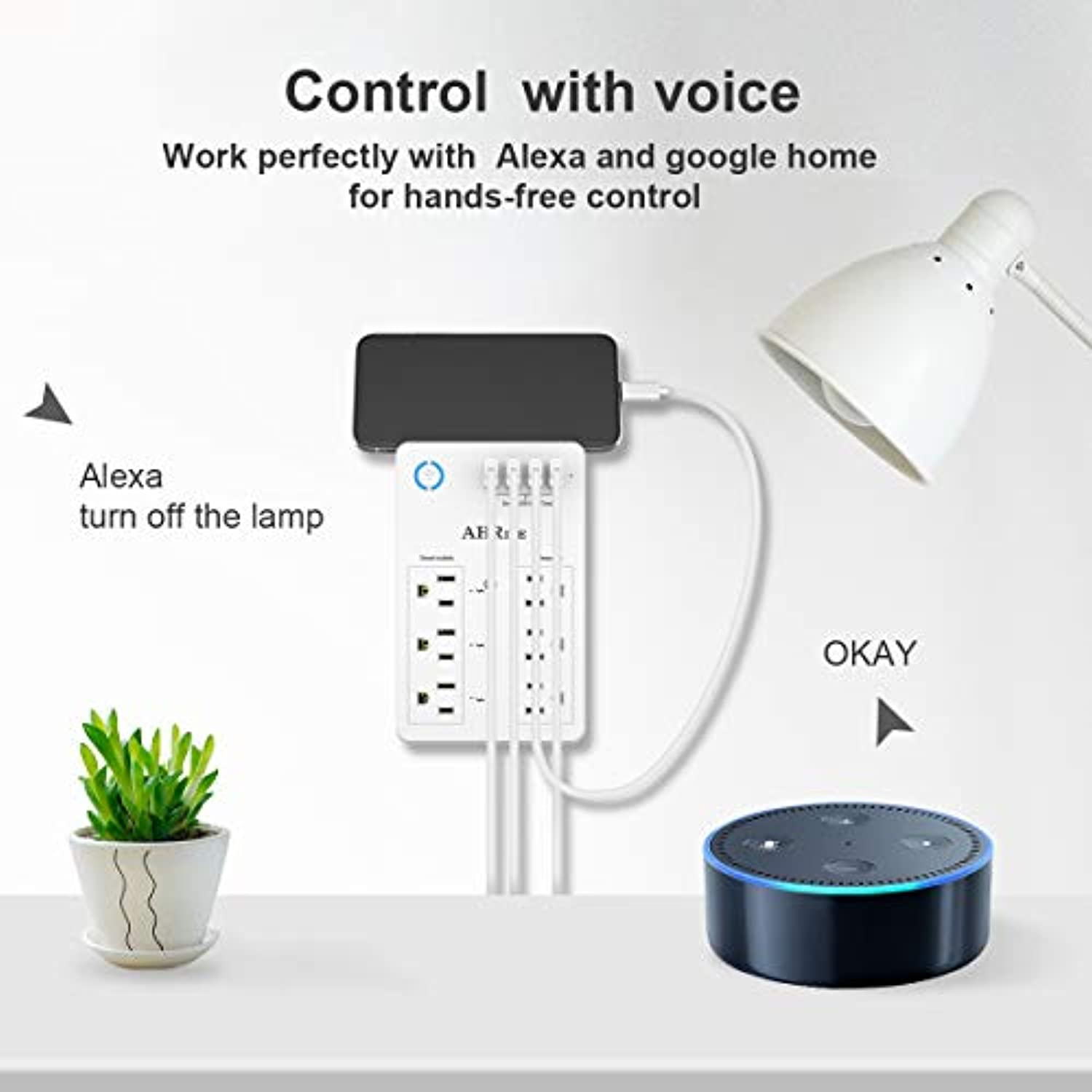 Classier: Buy AHRISE Smart Plug, USB Wall Charger, AHRISE WiFi Surge Protector with 4 USB Ports(4.8A/24W Total), 6-Outlet Extender(3 Smart Outlets), Compatible with Alexa Google Assistant for Voice Control