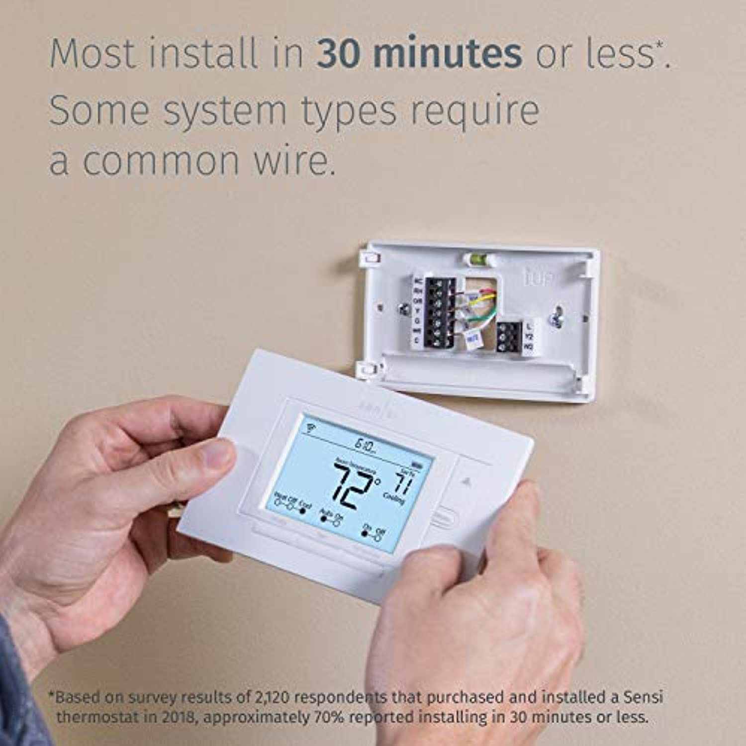 Classier: Buy Sensi Emerson Sensi Wi-Fi Smart Thermostat for Smart Home, DIY, Works With Alexa, Energy Star Certified, ST55