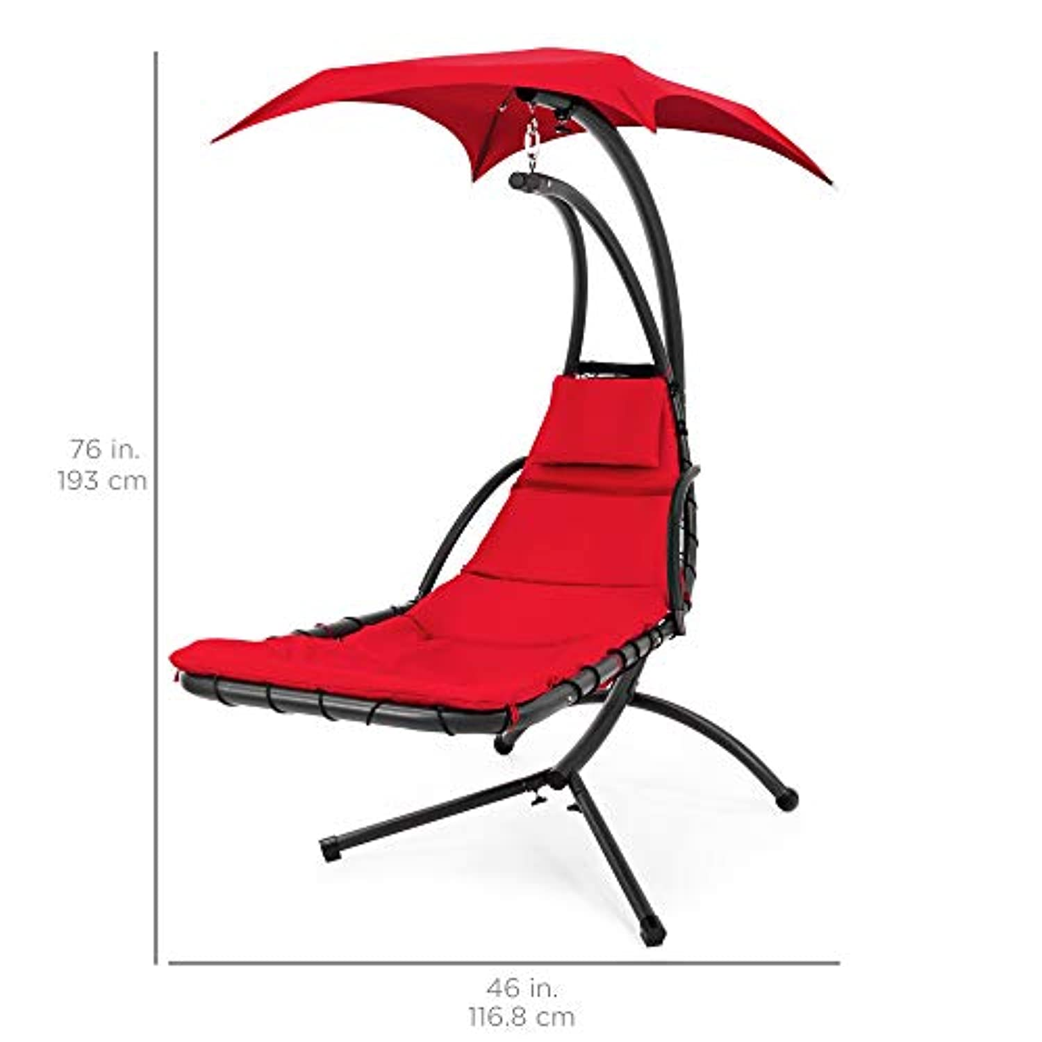 Classier: Buy Best Choice Products Best Choice Products Hanging Curved Chaise Lounge Chair Swing for Backyard, Patio w/Pillow, Canopy, Stand - Red
