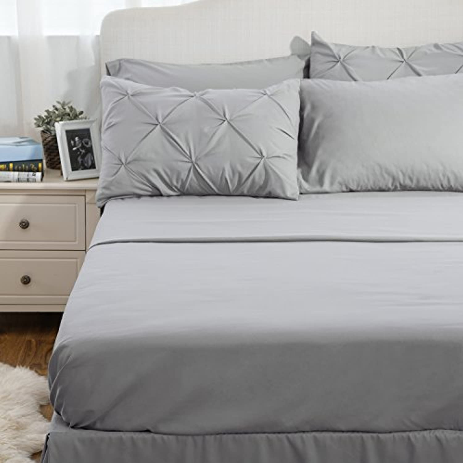 Classier: Buy Bedsure Bedsure Comforter Set Queen/Full Bed in A Bag Grey 8 Pieces - 1 Pinch Pleat Comforter(88X88 inches), 2 Pillow Shams, 1 Flat Sheet, 1 Fitted Sheet, 1 Bed Skirt, 2 Pillowcases