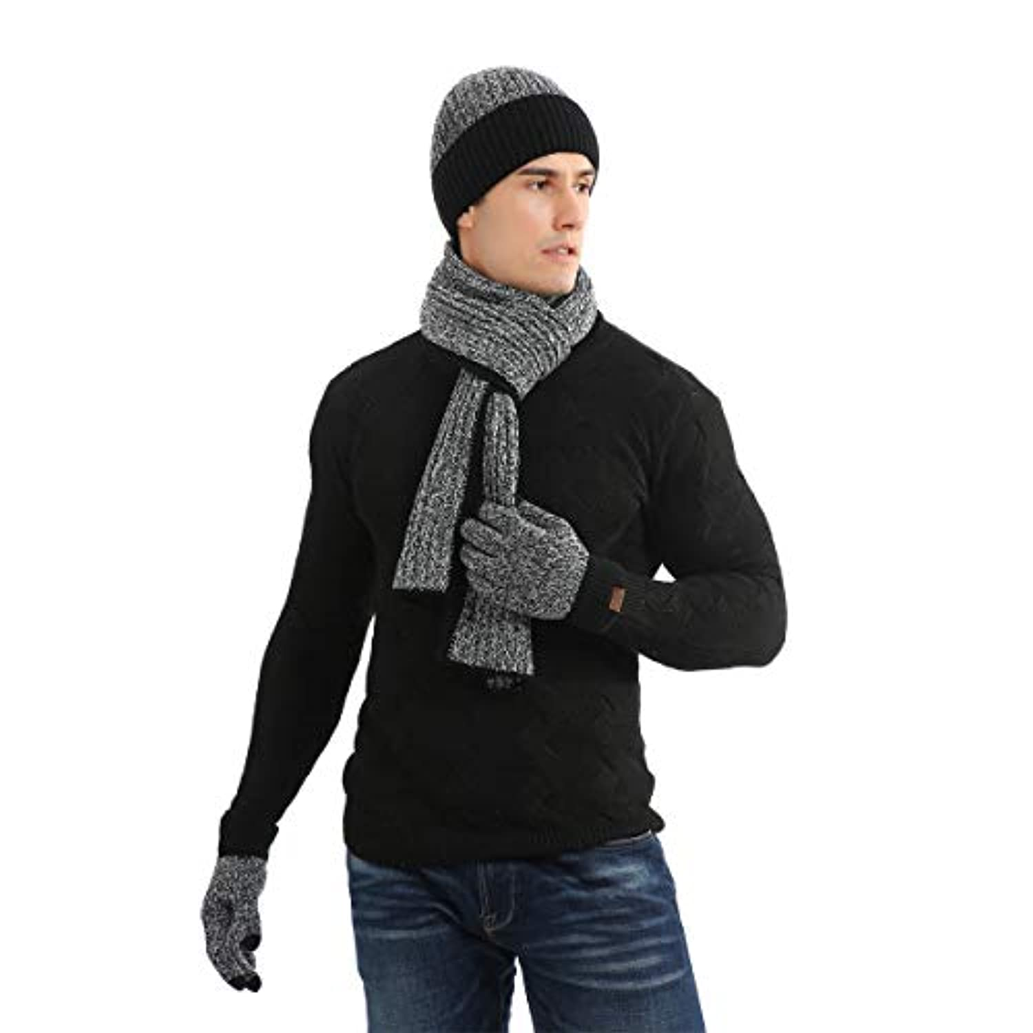 Classier: Buy KEESON KEESON 3 Pieces Winter Beanie Hat Scarf Touch Screen Gloves Knitted Cap Set Unisex for Men Women Two-color design