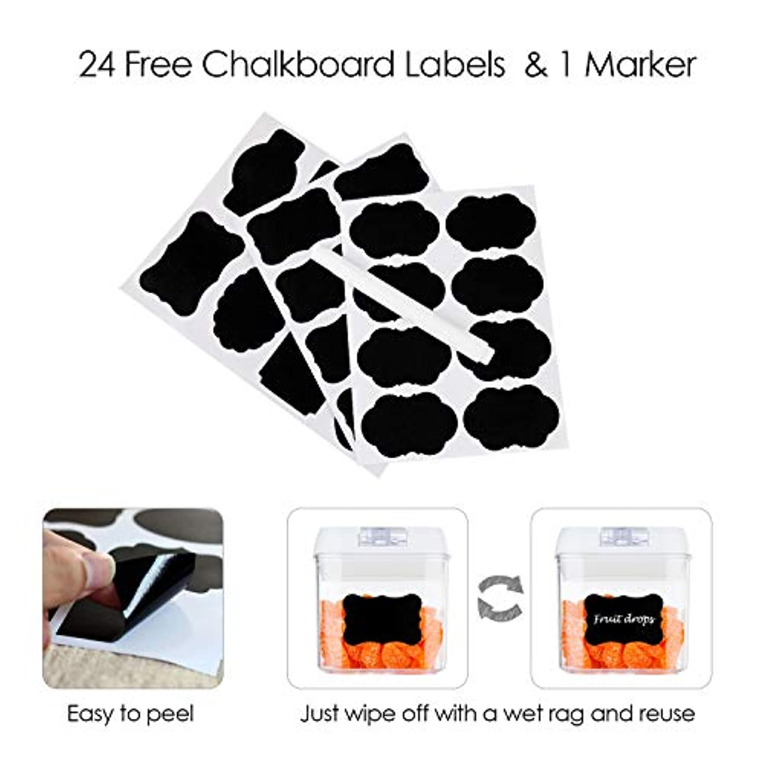 Classier: Buy Vtopmart Airtight Food Storage Containers,Vtopmart 7 Pieces BPA Free Plastic Cereal Containers with Easy Lock Lids,for Kitchen Pantry Organization and Storage,Include 24 Free Chalkboard Labels and 1 Marker