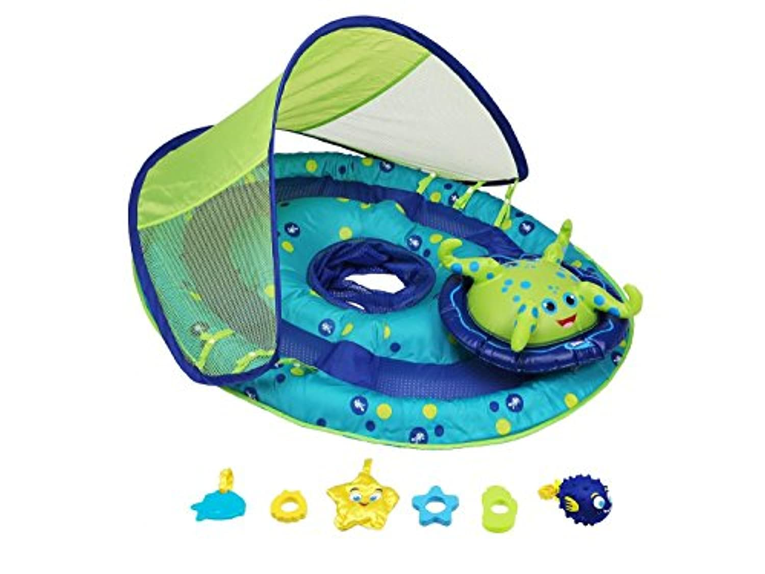 Classier: Buy SwimWays SwimWays Baby Spring Float Activity Center with Canopy - Inflatable Float for Children with Interactive Toys and UPF Sun Protection - Blue/Green Octopus