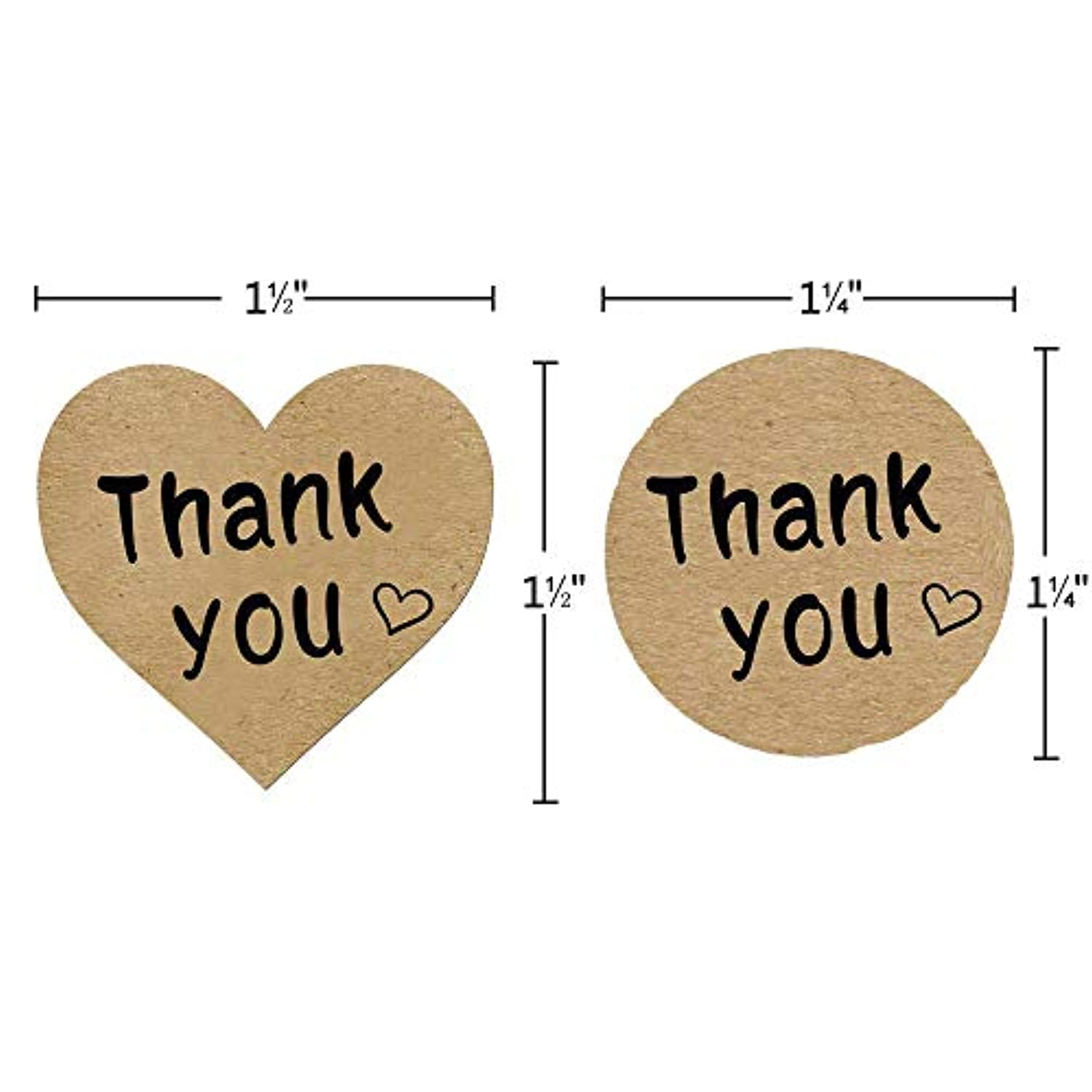Classier: Buy Vinkki Thank You Stickers Roll 1000pcs Adhesive Labels Kraft Paper with Black Hearts, Decorative Sealing Stickers for Christmas Gifts, Wedding, Party