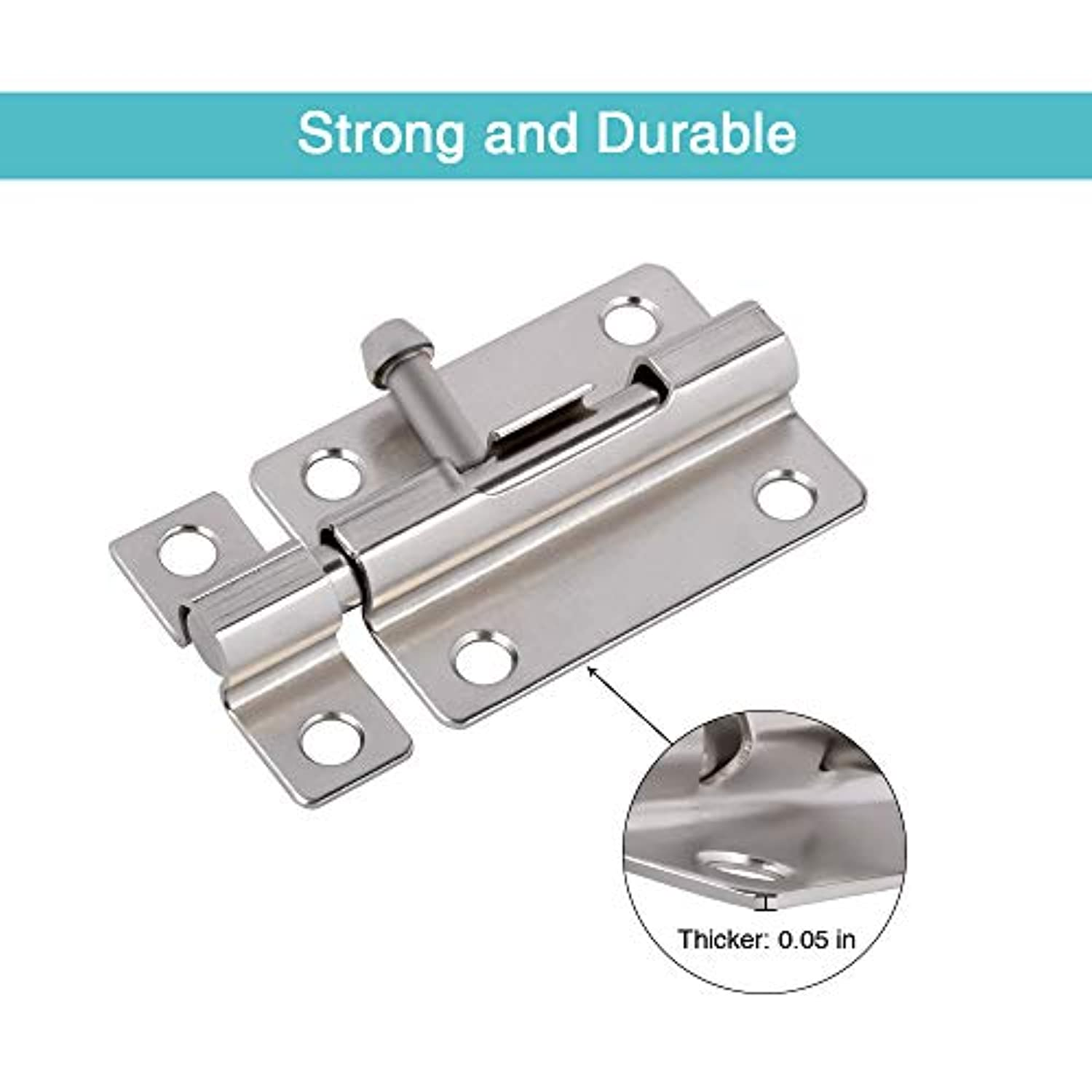 Classier: Buy CRANACH Door Security Slide Latch Lock, 3 inch Barrel Bolt with Solid Heavy Duty Steel to Keep You Safe and Private, Brushed Nickle Finish Door Latch Sliding Lock with 12 Screws (Silver-2 Pack)