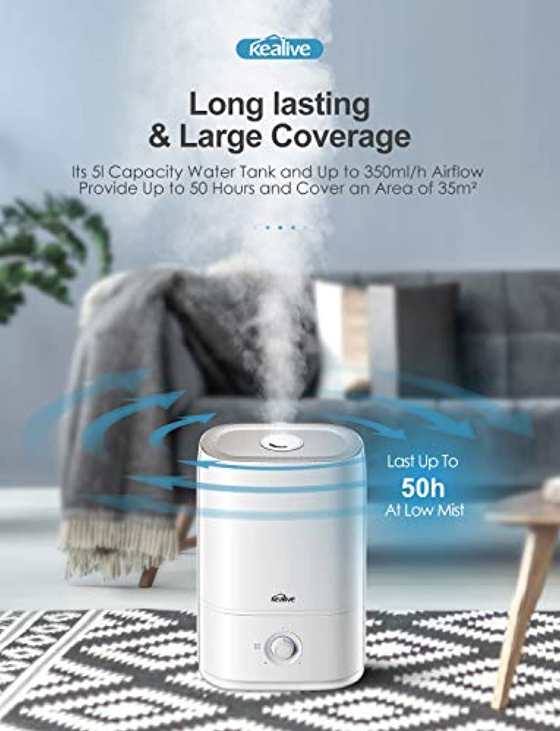 Classier: Buy kealive kealive Humidifier, 2020 Upgraded Large Room 5L Cool Mist Humidifier with Essential Oil Tray, Quick Mode Design Ultrasonic Humidifiers for Bedroom, Easy to Fill and Clean, Quiet Operation