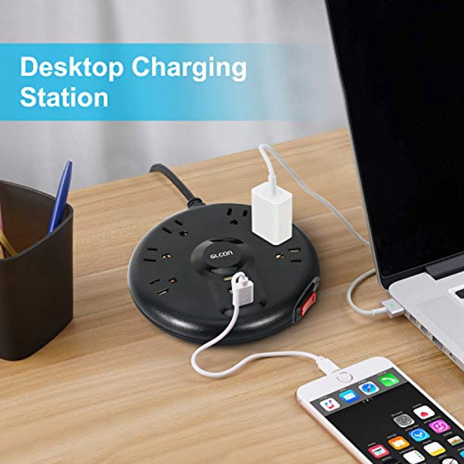 Classier: Buy GLCON Power Strip with USB – Multi Outlets Flat Plugs Surge Protector with 6 Outlets 3 USB Ports Long Extension Cord – Desktop Charging Station Smart Power Outlet