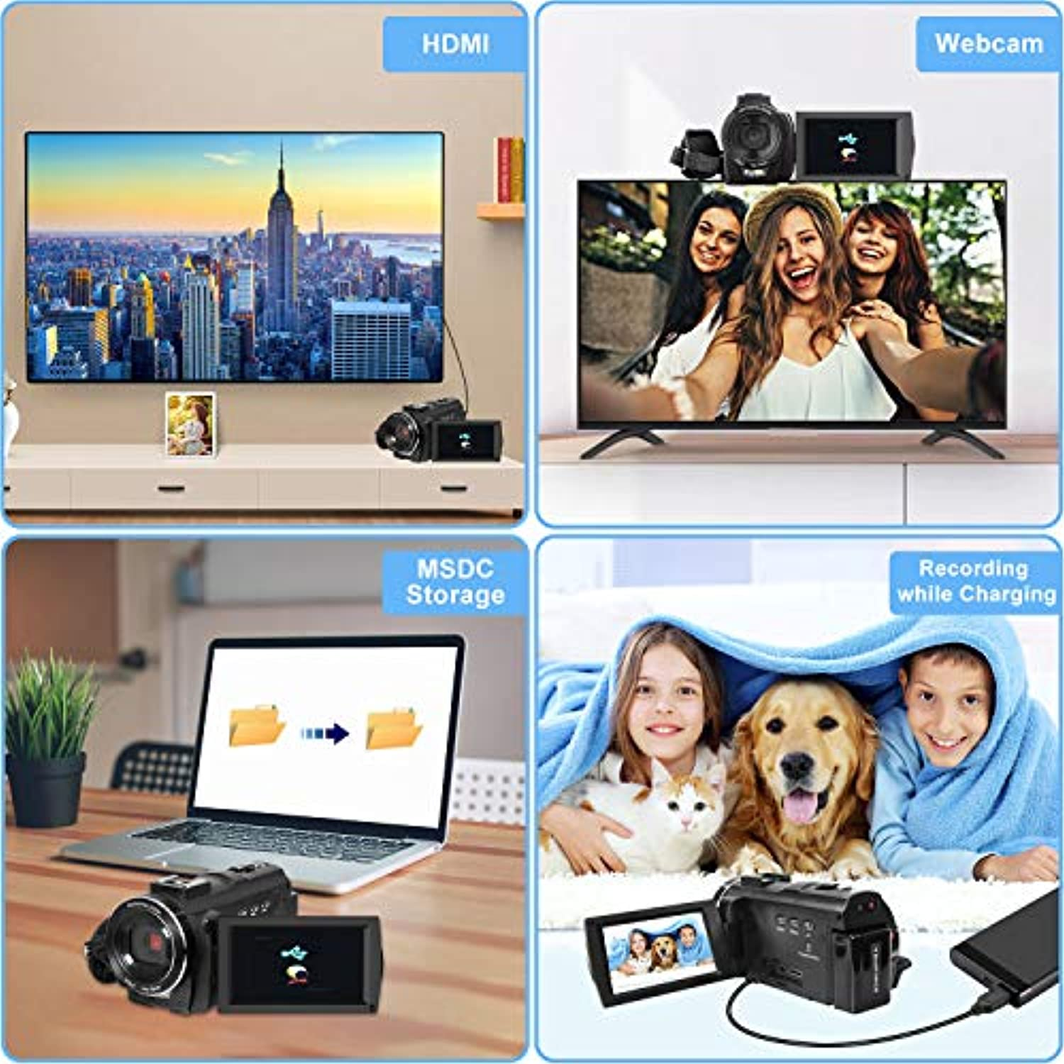 Classier: Buy VideoSky Video Camera Camcorder with Microphone, VideoSky 42MP HD 1080P 30FPS Digital Recording Camcorders for YouTube 64 GB Memory Card Vlogging IR Night Webcam Time-Lapse Slow Motion,Touch Screen, Lens Hood
