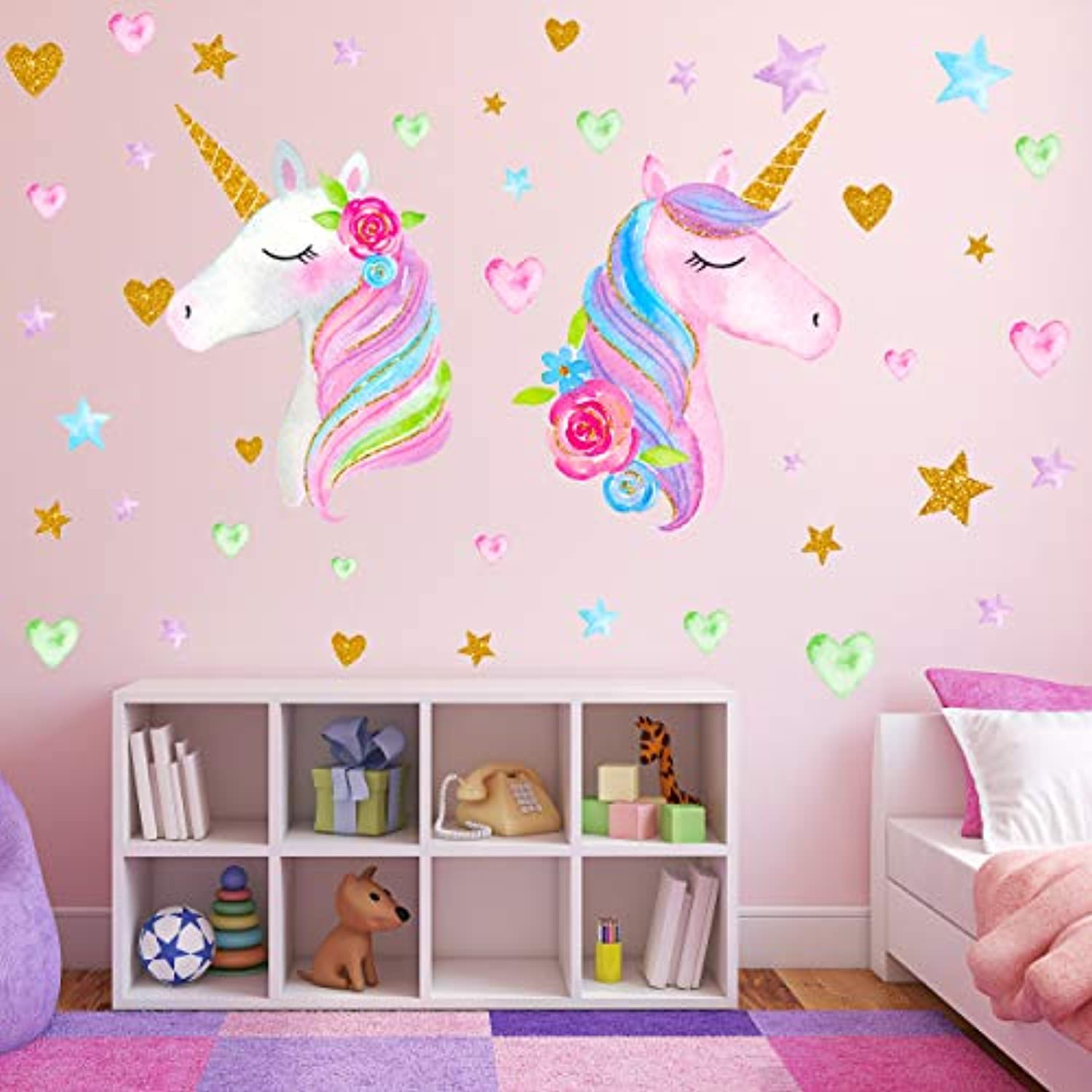 Classier: Buy Neasyth 2 Sheets Large Size Unicorn Wall Decor,Removable Unicorn Wall Decals Stickers Decor for Gilrs Kids Bedroom Nursery Birthday Party Favor(Neasyth Store 9.99 $) (2 PCS)
