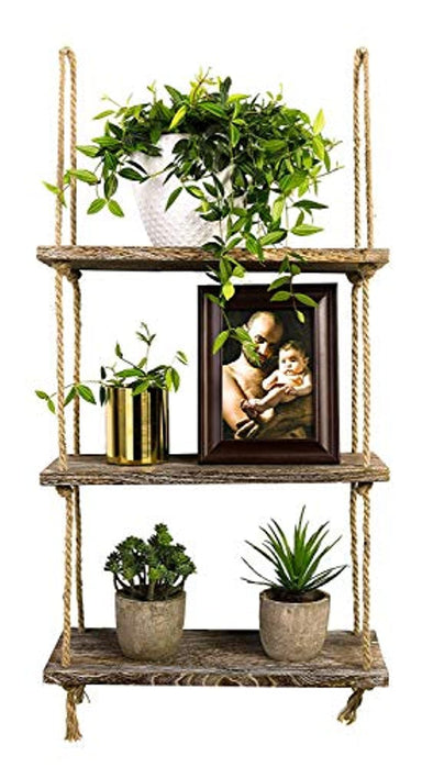 Classier: Buy TIMEYARD Decorative Wall Hanging Shelf, 3 Tier Distressed Wood Jute Rope Floating Shelves, Rustic Home Wall Decor