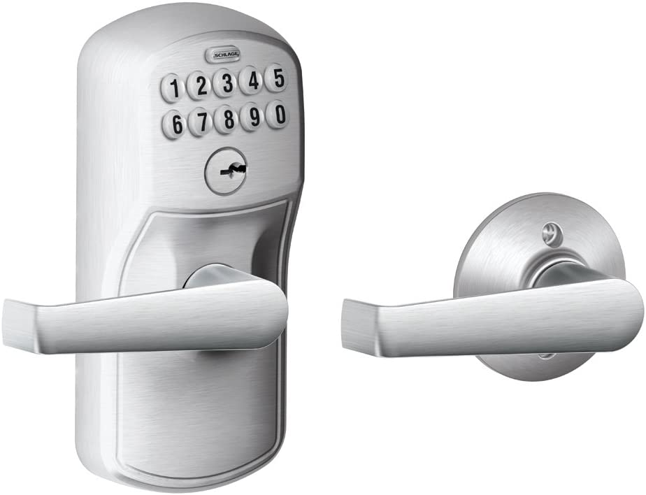 Classier: Buy SCHLAGE Schlage FE575 PLY 626 ELA Plymouth Keypad Entry with Auto-Lock and Elan Levers, Brushed Chrome