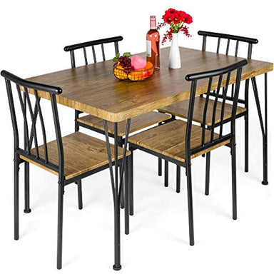 Classier: Buy Best Choice Products Best Choice Products 5-Piece Metal and Wood Indoor Modern Rectangular Dining Table Furniture Set for Kitchen, Dining Room, Dinette, Breakfast Nook w/ 4 Chairs, Brown