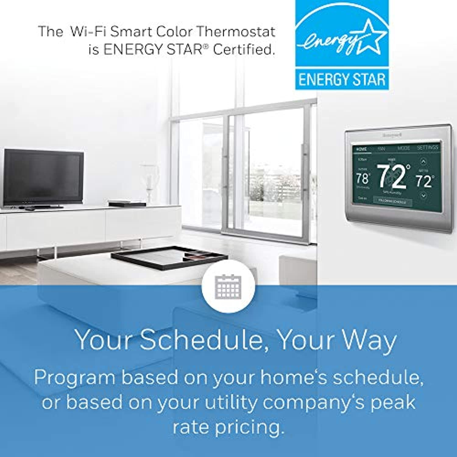Classier: Buy Honeywell Honeywell Home RTH9585WF1004 Wi-Fi Smart Color Thermostat, 7 Day Programmable, Touch Screen, Energy Star, Alexa Ready