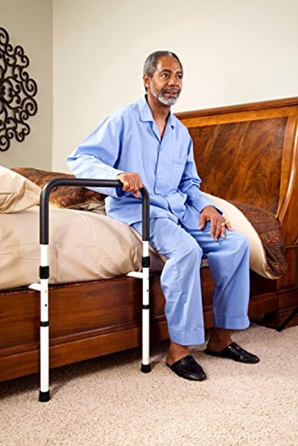 Classier: Buy Vaunn Medical Adjustable Bed Assist Rail Handle and Hand Guard Grab Bar, Bedside Safety and Stability (Tool-Free Assembly)
