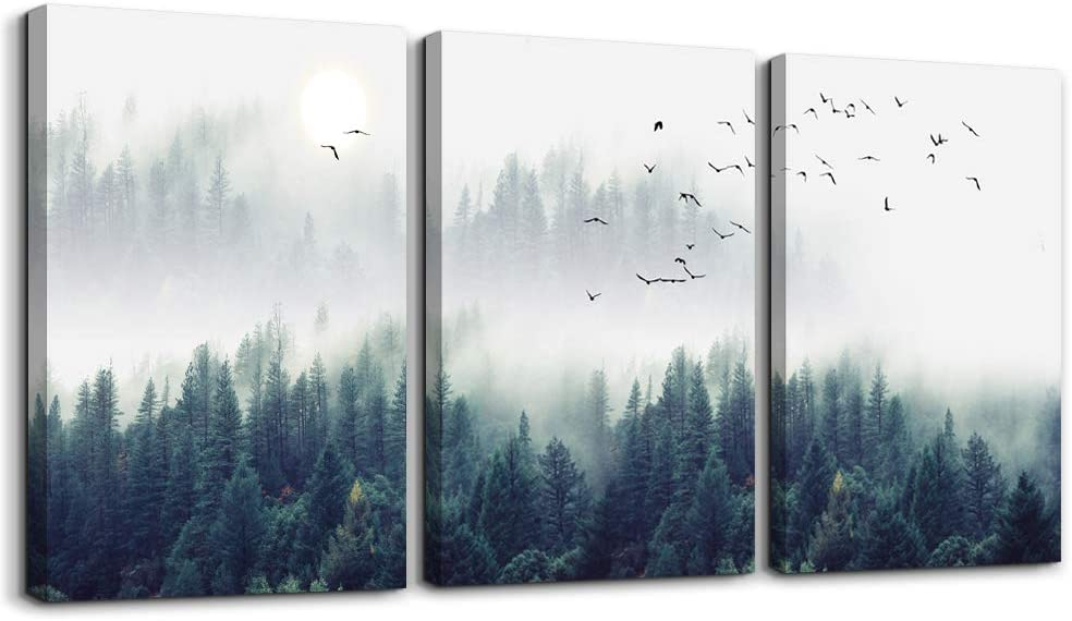 "Classier: Buy MHARTK66 3 Piece Canvas Wall Art for Living Room - Misty Forests of Evergreen Coniferous Trees in an Ethereal Landscape - Modern Home Decor Stretched and Framed Ready to Hang - 12""x16""x3 Panels wall decor"