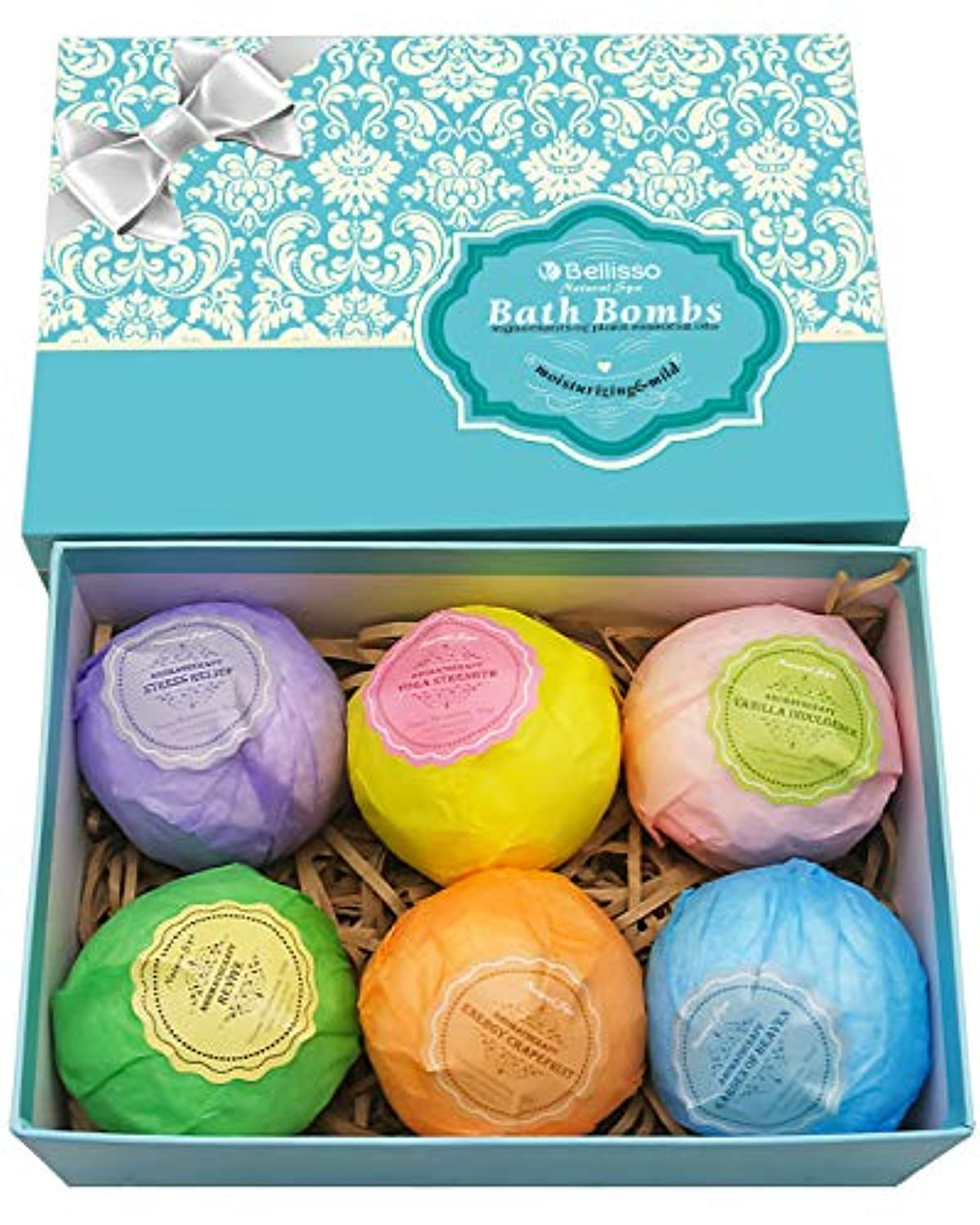 Classier: Buy BELLISSO Bath Bombs Ultra Lux Gift Set - 6 XXL All Natural Fizzies with Dead Sea Salt Cocoa and Shea Essential Oils - Best Gift Idea for Birthday, Mom, Girl, Him, Kids - Add to Bath Basket