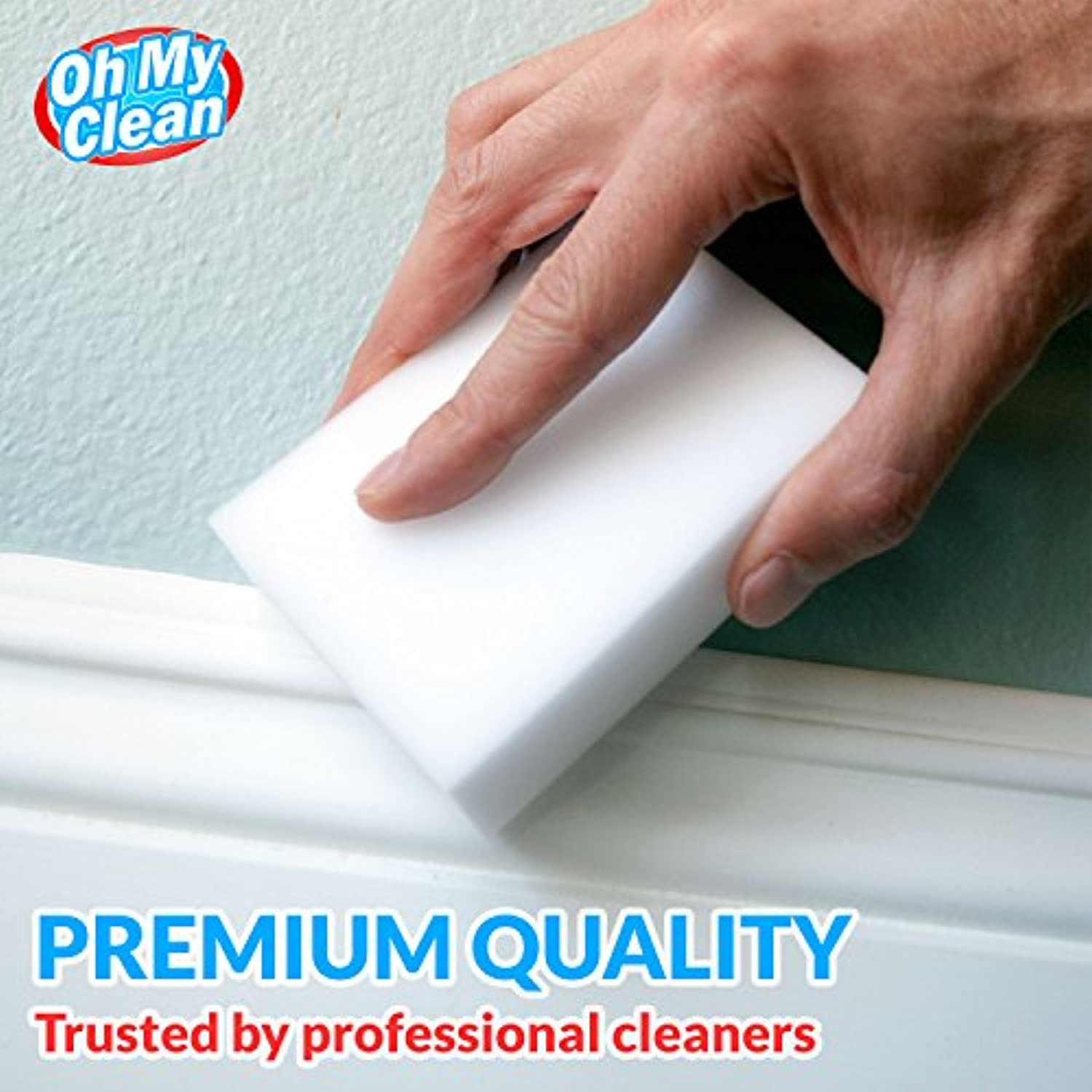 Classier: Buy Oh My Clean (20 Pack) Extra Large Eraser Sponge - Extra Thick, Long Lasting, Premium Melamine Sponges in Bulk - Multi Surface Power Scrubber Foam Cleaning Pads - Bathtub, Floor, Baseboard, Bathroom, Wall Cleaner