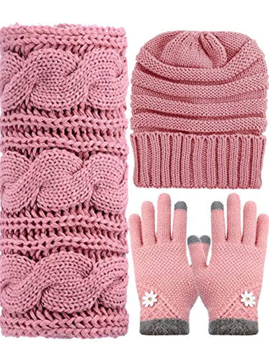 Classier: Buy SATINIOR Winter Warm Knit Set - Beanie Hat, Knitted Scarf and Stretch Gloves for Women Men (Pink)