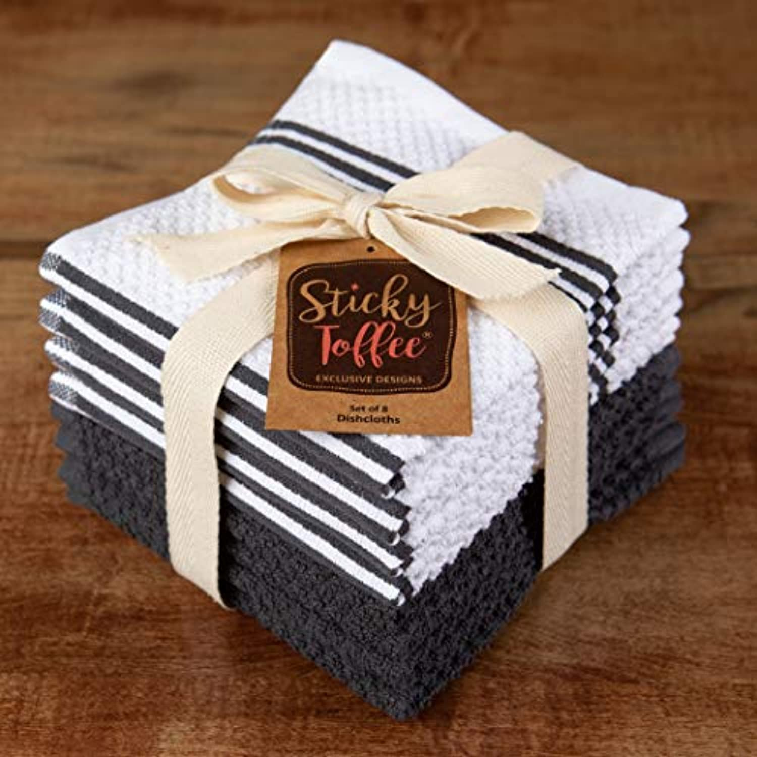 Classier: Buy Sticky Toffee Sticky Toffee Cotton Terry Kitchen Dishcloth, 8 Pack, 12 in x 12 in, Gray Stripe