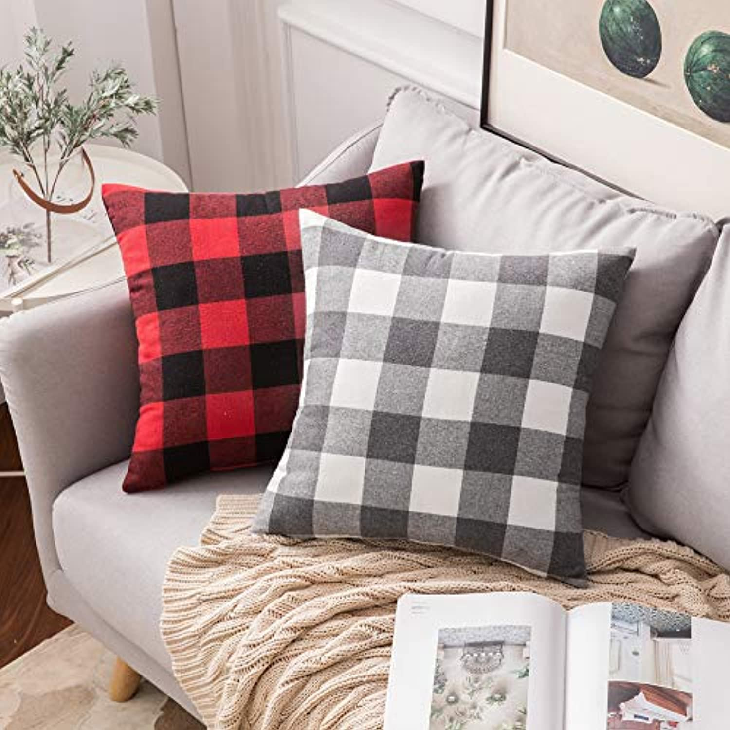 Classier: Buy MIULEE MIULEE Pack of 2 Classic Retro Checkers Plaids Cotton Linen Soft Soild Square Throw Pillow Covers Home Decor Design Cushion Case for Sofa Bedroom Car 20 x 20 Inch 50 x 50 cm