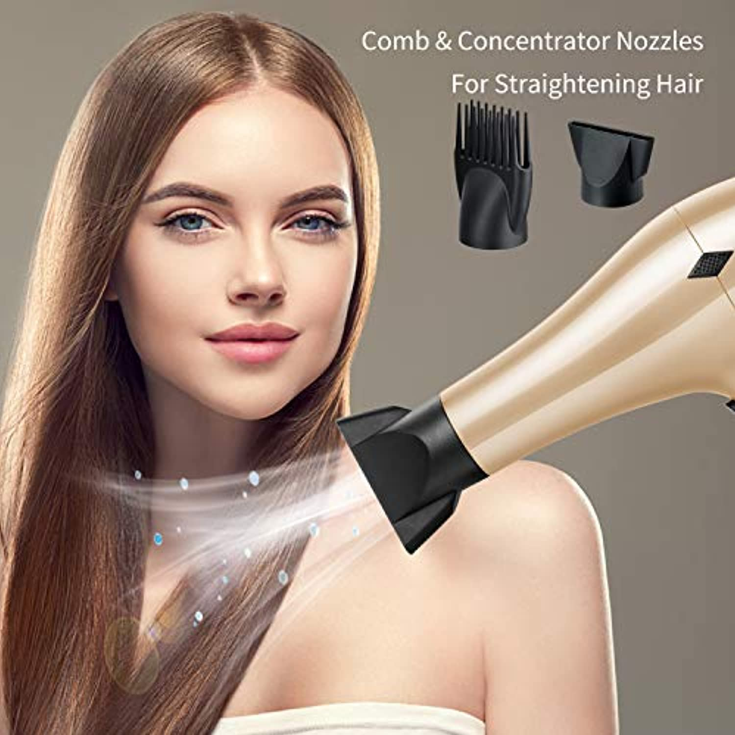 Classier: Buy NITION NITION Negative Ions Ceramic Hair Dryers Set with Diffuser,Comb,Nozzle Attachments,Ionic Blow Dryer Powerful 1875 Watt Quick Drying,2 Speed / 3 Heat Settings,Cool Shot Button,Lightweight,Gold