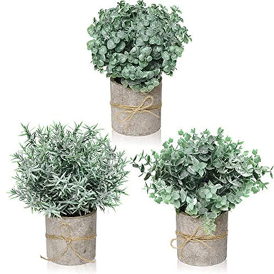 Classier: Buy FORTIVO Farmhouse Decor for the Home, Farmhouse Bathroom Decorations - Modern Farmhouse Decorations for Farmhouse Bathroom or Farmhouse Table - Artificial Eucalyptus Plant Rustic Set of 3 Artificial Plants