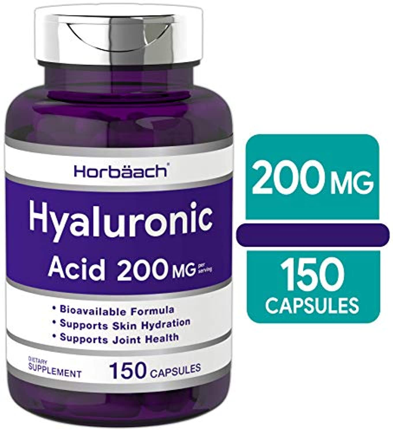 Classier: Buy Horbäach Hyaluronic Acid Capsules 200 mg 150 Count | Supports Joint and Skin Hydration | Non-GMO & Gluten Free Supplement | by Horbaach