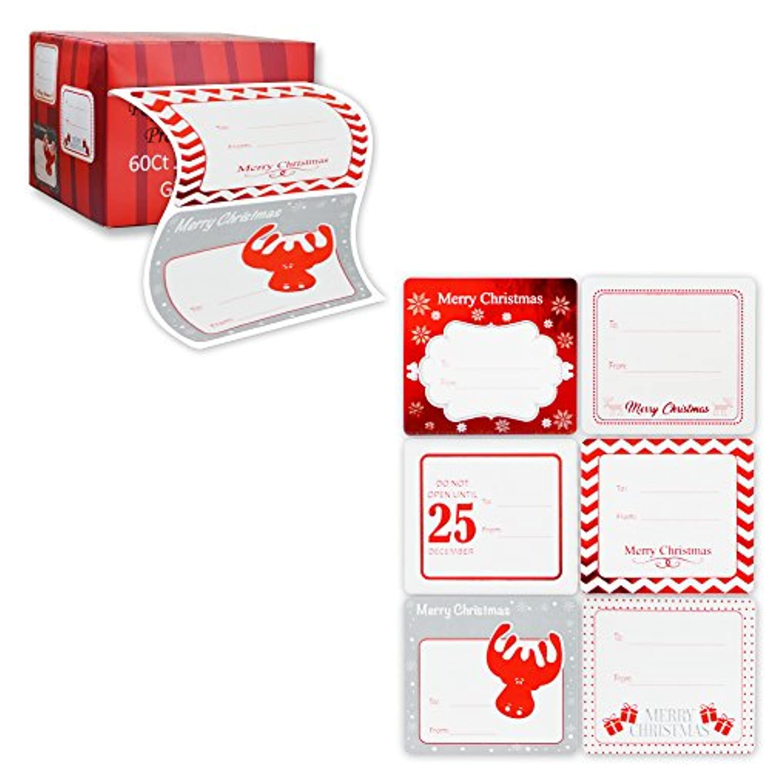 Classier: Buy Paper and Presents Jumbo Christmas Gift Tag Stickers 60 Count Modern Red, White, Silver, and Gold Xmas Designs