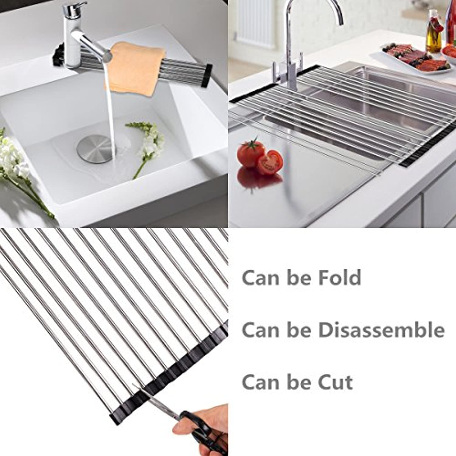 Classier: Buy DDMY DDMY Over The Sink Dish Rack Roll-Up Dish Drying Rack Multipurpose Dish Drainer Collapsible Kitchen Sink Rack
