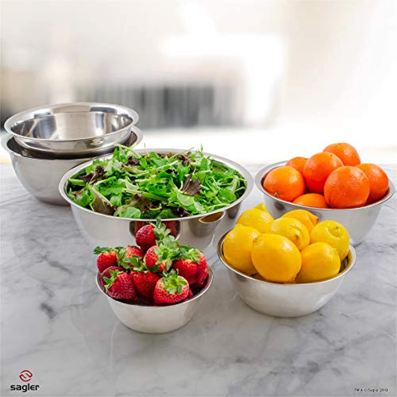 Classier: Buy Sagler mixing bowls - mixing bowl Set of 6 - stainless steel mixing bowls - Polished Mirror kitchen bowls - Set Includes ¾, 2, 3.5, 5, 6, 8 Quart - Ideal For Cooking & Serving - Easy to clean - Great gift