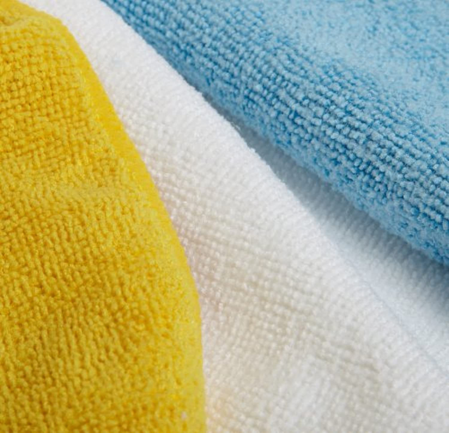 Classier: Buy Basics AmazonBasics Blue, White, and Yellow Microfiber Cleaning Cloth - Pack of 24