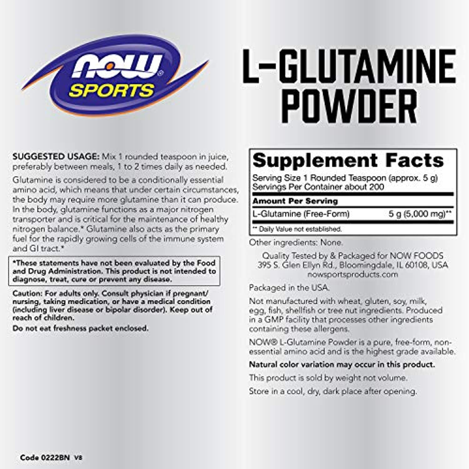 Classier: Buy NOW Foods Now Sports Nutrition, L-Glutamine Powder, 35.2 Ounce (Pack of 1)