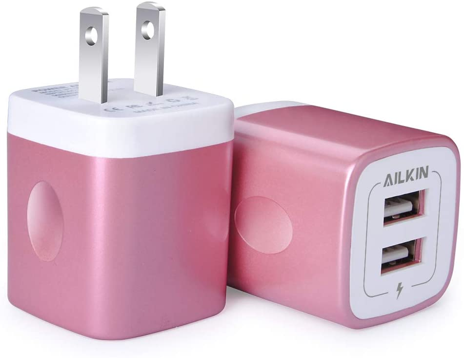 Classier: Buy AILKIN USB Wall Charger, Charger Adapter, Ailkin 2-Pack 2.1Amp Dual Port Quick Charger Plug Cube Replacement for iPhone 7/6S/6S Plus/6 Plus/6/5S/5, Samsung Galaxy S7/S6/S5 Edge, LG, HTC, Huawei, Moto, Kindle