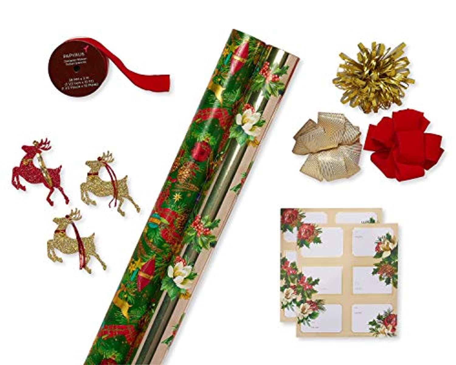 Classier: Buy Papyrus Papyrus Christmas Wrapping Paper Kit with Gridlines, Bows and Gift Tags, Holiday Traditions (11-Count, 120  sq. ft.)